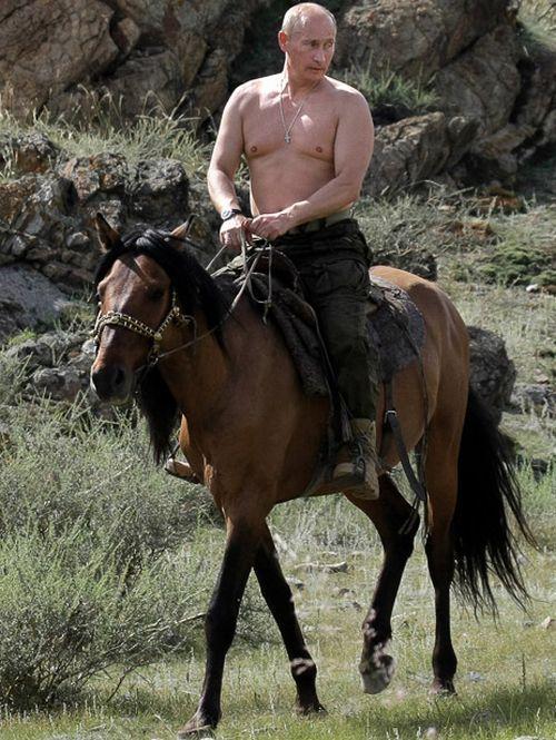Vladimir Putin jaše konja
