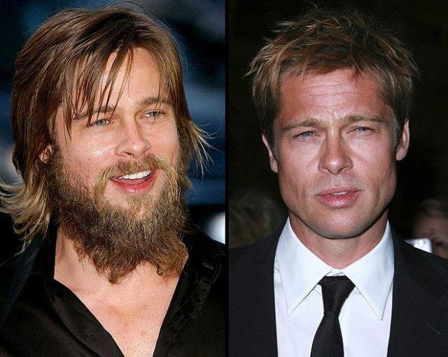Bred Pit - sa bradom i obrijan