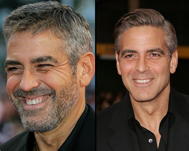 Džordž Kluni - sa bradom i obrijan