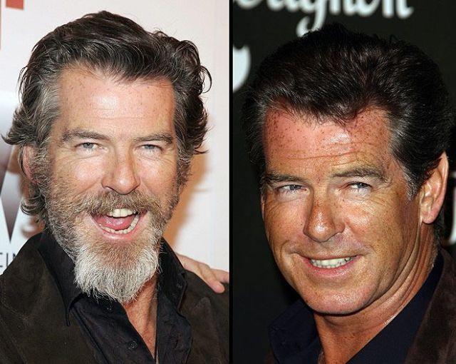 Pirs Brosnan - sa bradom i obrijan