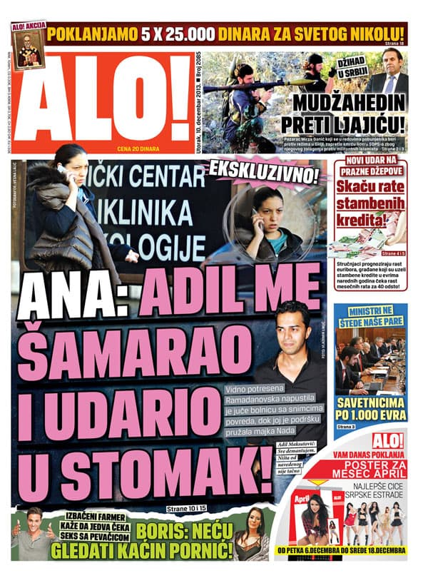 Naslovna strana dnevnih novina 'Alo' potvrđuje da je došlo do incidenta