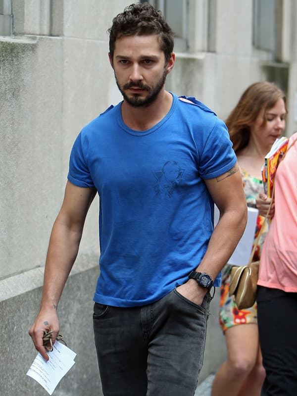 Shia Labeouf leaves midtown precinct after being released from jail in New York City.