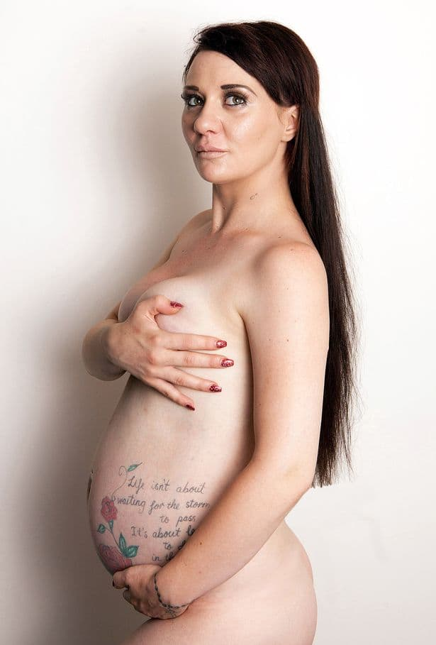 NHS-Boob-Job-model-Josie-Cunningham-doing-a-Demi-Moore-pregnant-pose