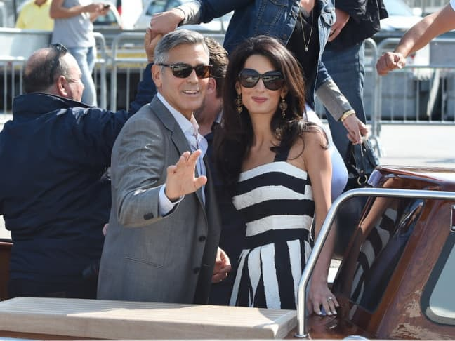 George Clooney and Amal Alamuddin arrive in Venice for their wedding