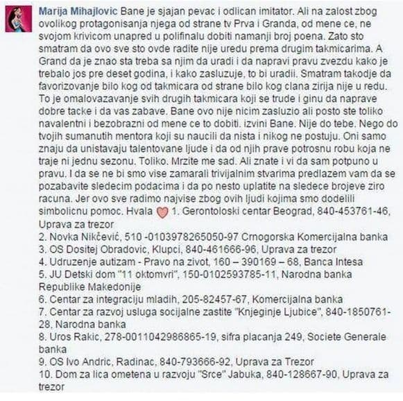 Marija je na svom Facebooku profilu osula paljbu po produkciji TLZP-a (foto: Facebook)