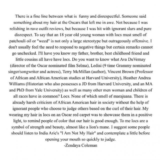 Zendayina izjava (foto: Instagram)