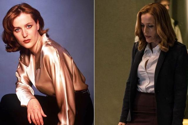 Glumica u ulozi Dane Scully 1995. i 2016. godine (foto: Rex/Screenshot)