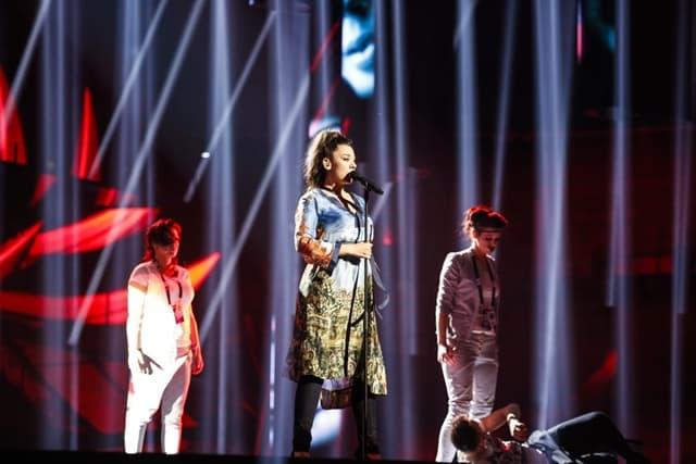 Koreografija je veliki deo Sanjinog moćnog izvođenja balade 'Goodbye' (foto: EBU)