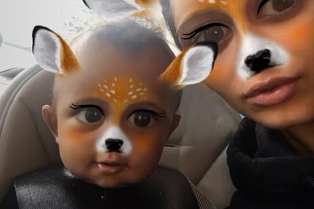 Kim i Saint sa filterima jelena (foto: Snapchat)