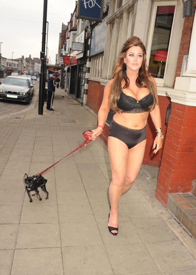 Lisa Appleton (bezuspešno) je pokušala da iskopira nedavnu reklamnu kampanju DKNY i supermodela Emily Ratajkowski i ulicama Londona prošetala je svog psa samo u donjem vešu.