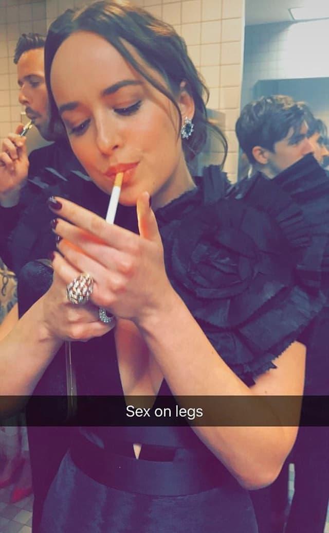 Dakota Johanson pali cigaretu u toaletu muzeja Metropoliten (foto: Instagram/ritaora)