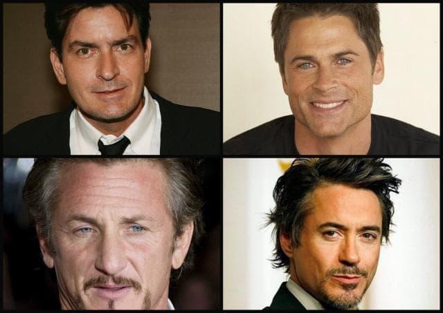 Charlie Sheen, Rob Lowe, Robert Downey Jr. i Sean Penn (foto: 20minutos)
