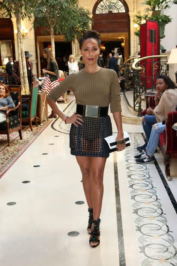 Jada Pinkett Smith poses up during Paris Fashion Week **USA ONLY**