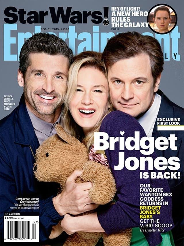 Naslovna strana sa troje glavnih glumaca iz filma Bridget Jones's baby (foto: EW)