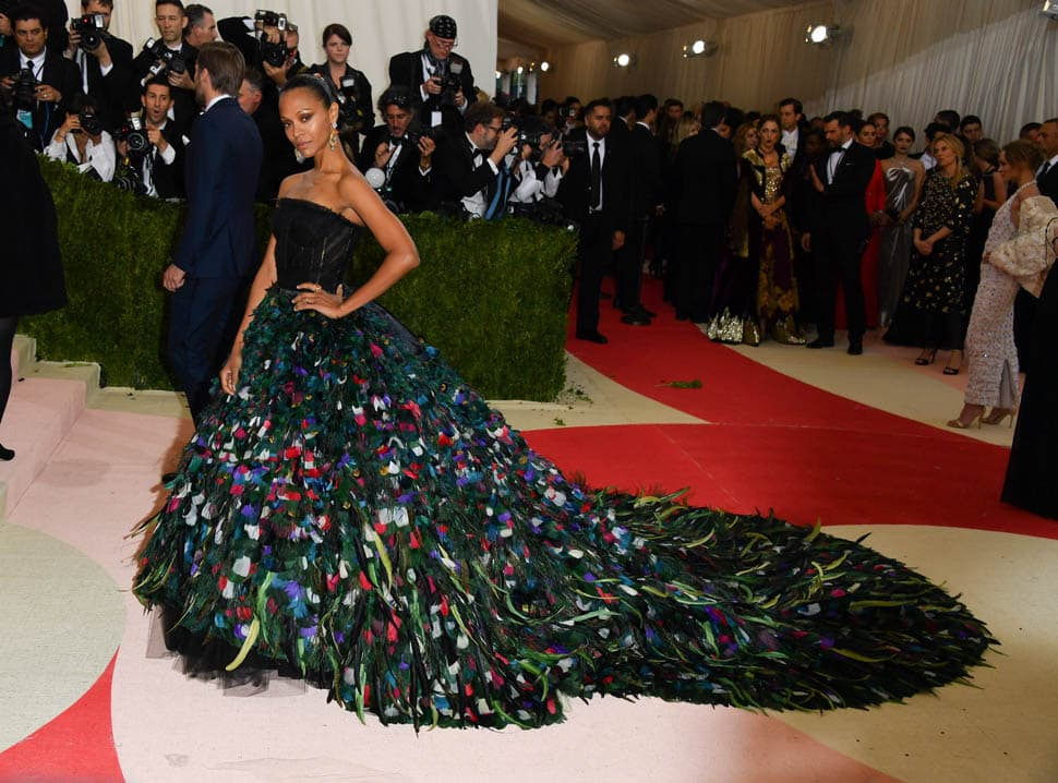 NEW YORK, NY - MAY 02: Zoe Saldana attends the 'Manus x Machina: Fashion in an Age of Technology' Costume Institute Gala at the Metropolitan Museum of Art on May 2, 2016 in New York City. (Photo by George Pimentel/WireImage)